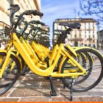 Bicicletas amarelas enfileiradas
